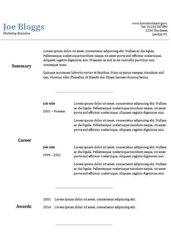 two column cv template