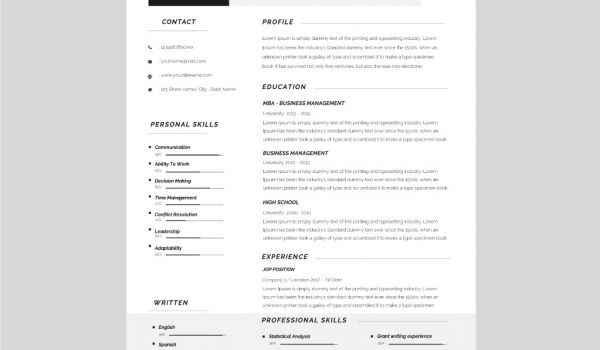 Contact Icons CV template