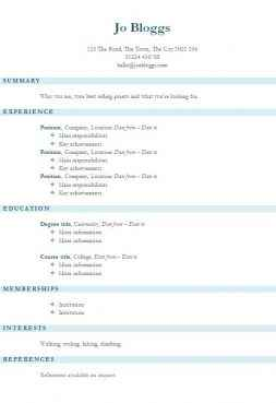 Blue stripes CV template