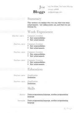 Box detail CV template