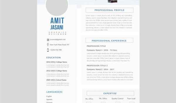 Tables CV template