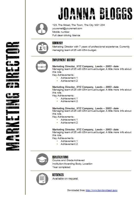 creative black and white cv template