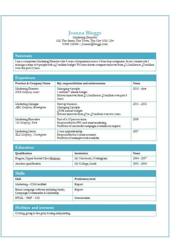 Tables cv template free ms word download how to write a cv for How to create a cv template in word