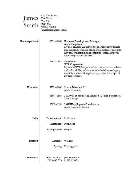 Divided Word CV Template
