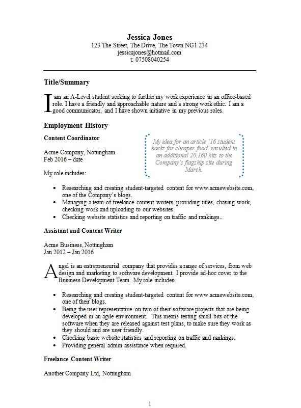 example cv template free example cv in microsoft word