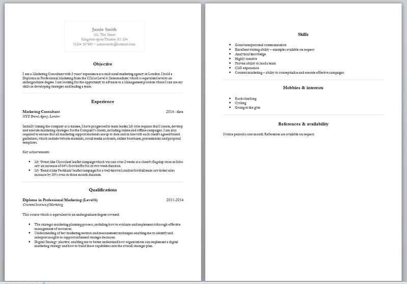 basic cv layout