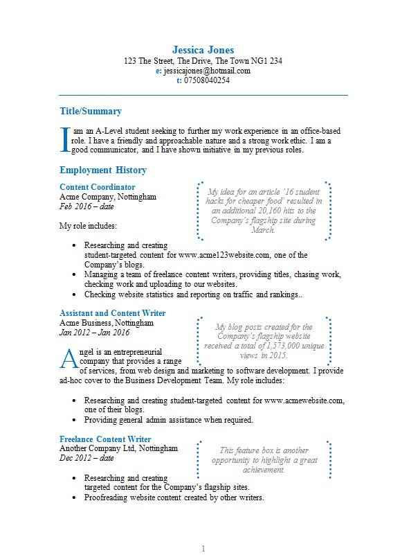 Featured boxes CV template