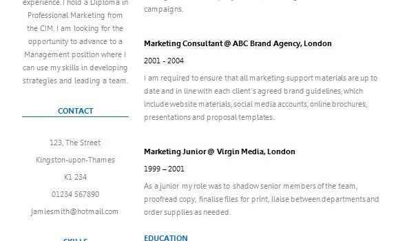 Fresh two column CV template