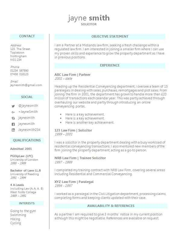 Delightful Legal CV Template