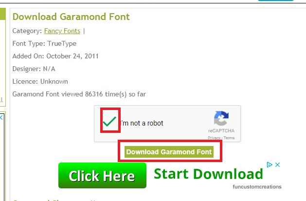Downloading Garamond free font - step 1