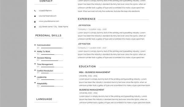 CV Templates Free To Download In Microsoft Word Format - Game design document template word
