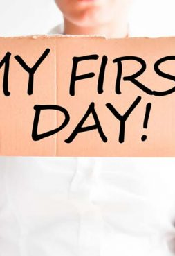 What happens on the first day of a new job?