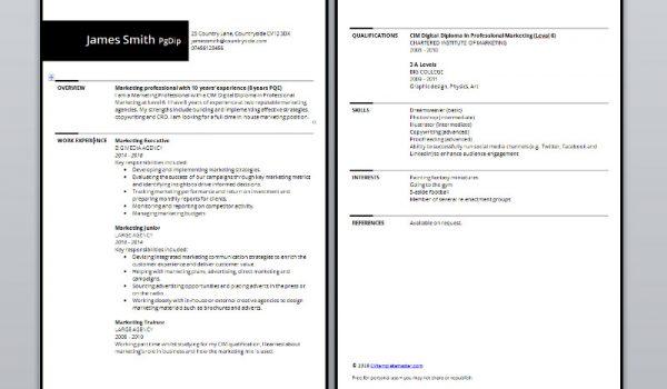 Bordered CV template