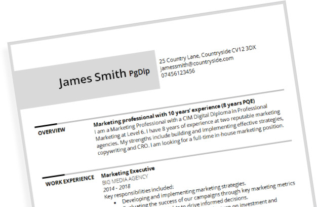 CV template alternative