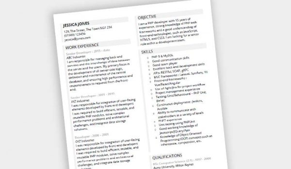 Free Guided CV template in MS Word