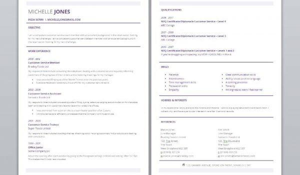 Two page subtle CV template