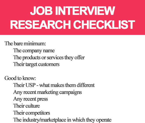 Job interview research checklist