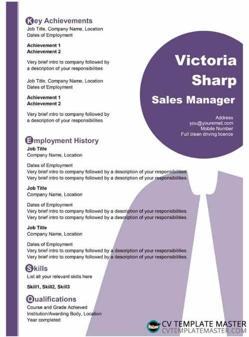 Light purple creative CV template