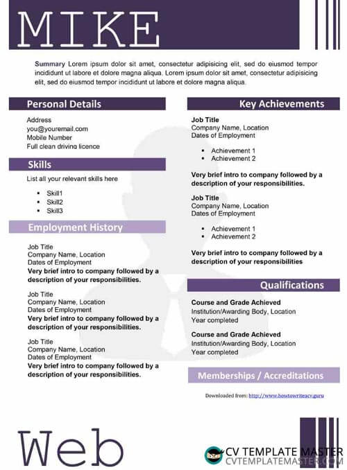 Purple creative CV template