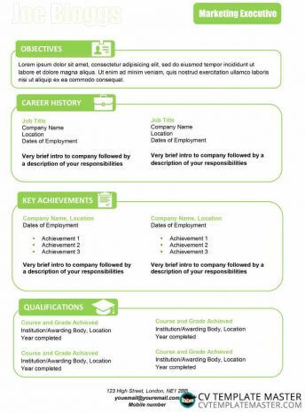 One page apple green themed creative CV template with boxes and themed icons