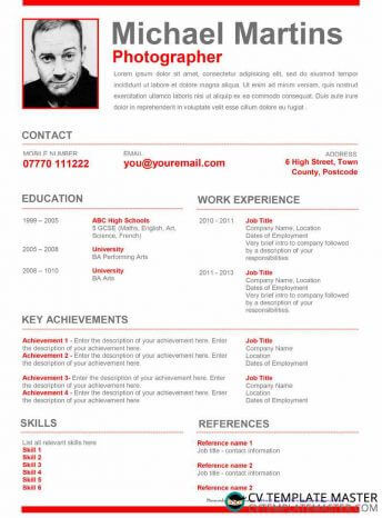 Red creative CV template with a bold objective and space for achievements