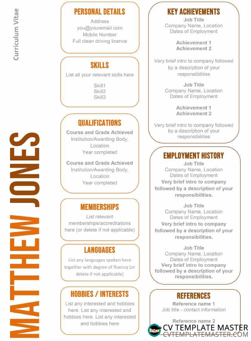 Free professional CV template in MS word with orange boxes