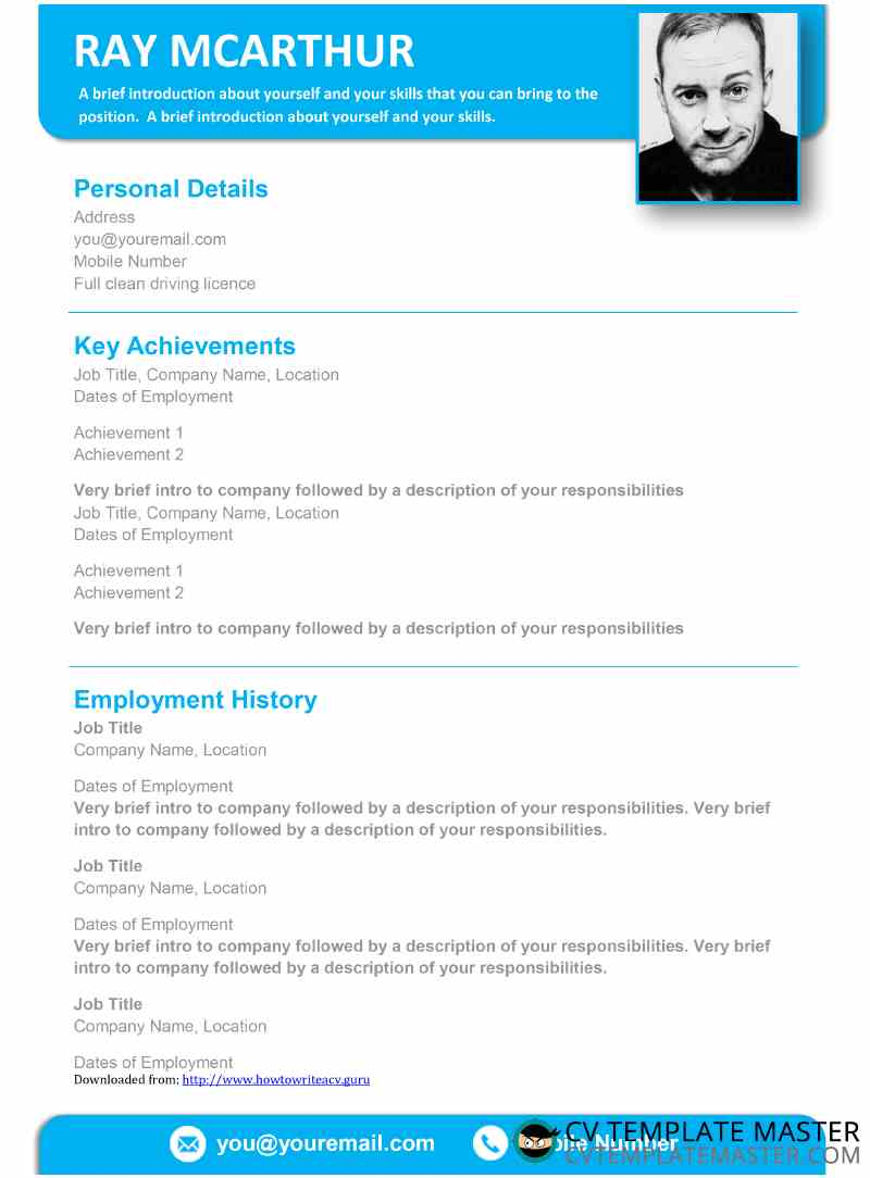 Free blue creative CV template in Word