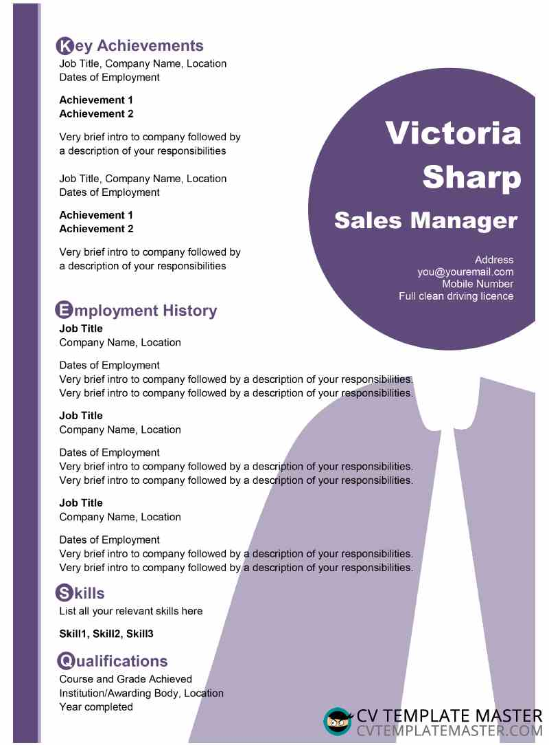 Free light purple CV template in MS Word