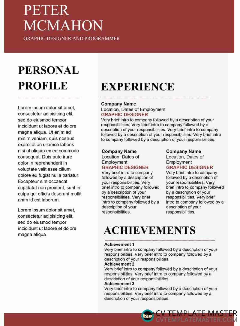 Free red creative CV template in MS Word