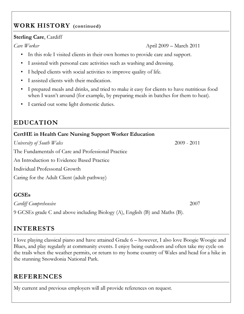 Care support worker example CV - page 2