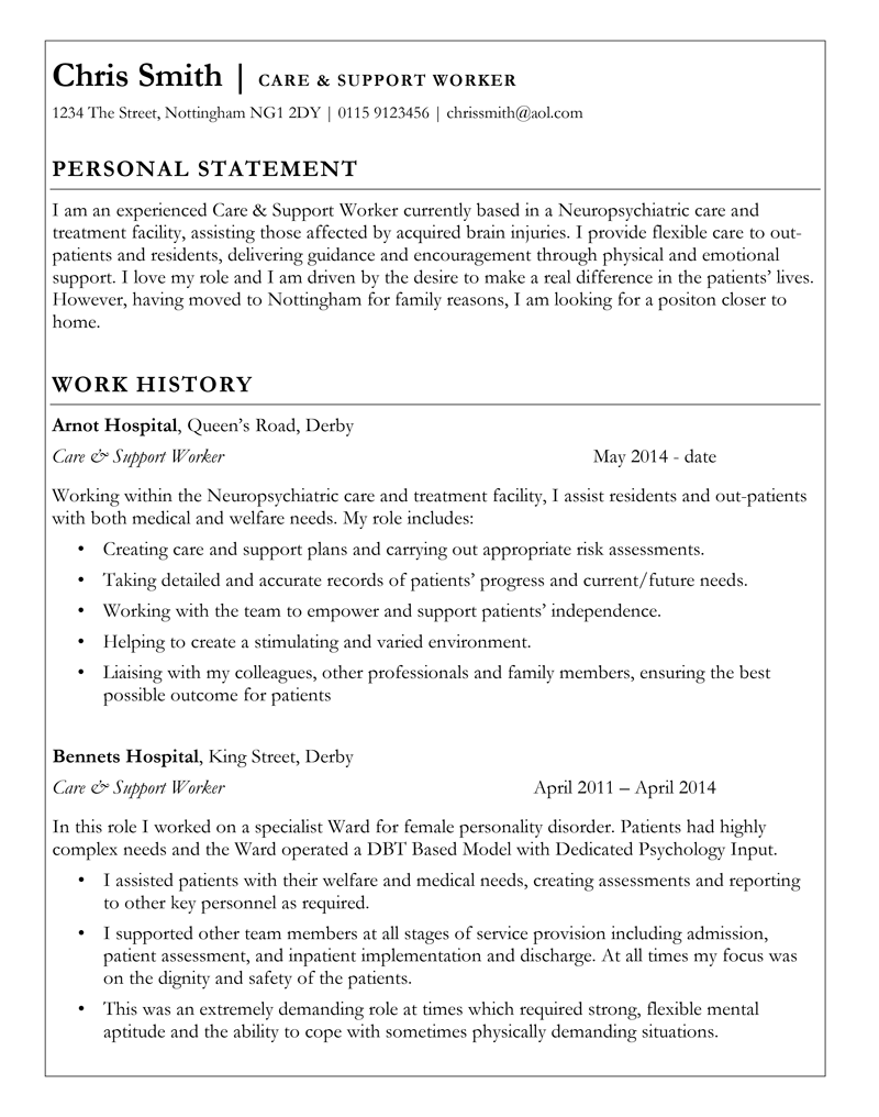 Care support worker CV - page 1