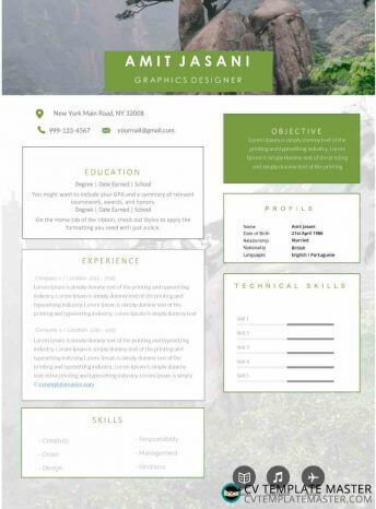 CV template with a muted photo background and boxes for details