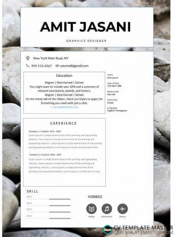 CV template with an optional photo background and skills sliders