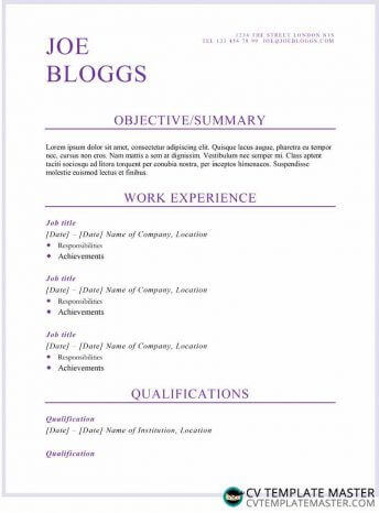 Purple flair CV/résumé template (alternative)