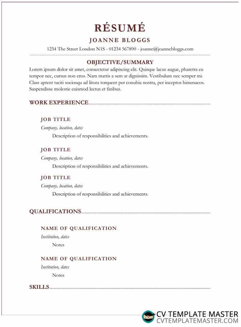 Template CV with burgundy shadows detail