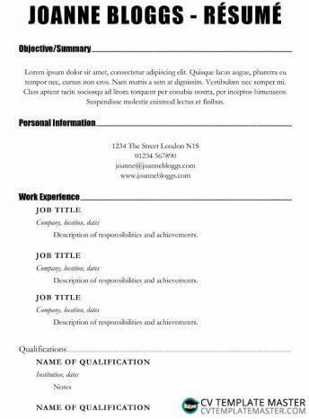 Make an Impact CV/résumé template