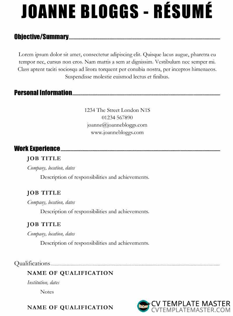 Free Make an Impact Resume template in MS Word