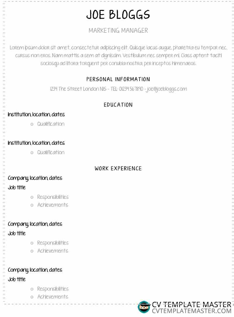Free template CV - neatly writter