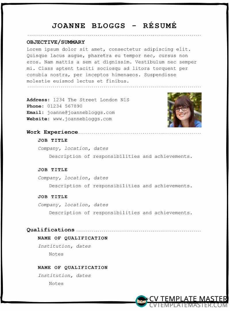 Free pieced together CV template in MS Word