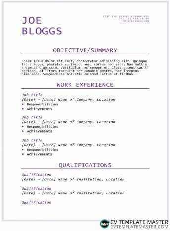Purple flair CV/résumé template