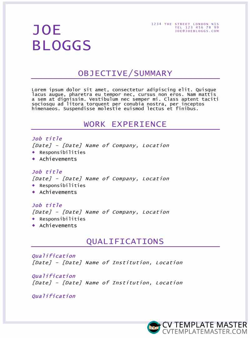 purple flair cv  r u00e9sum u00e9 template