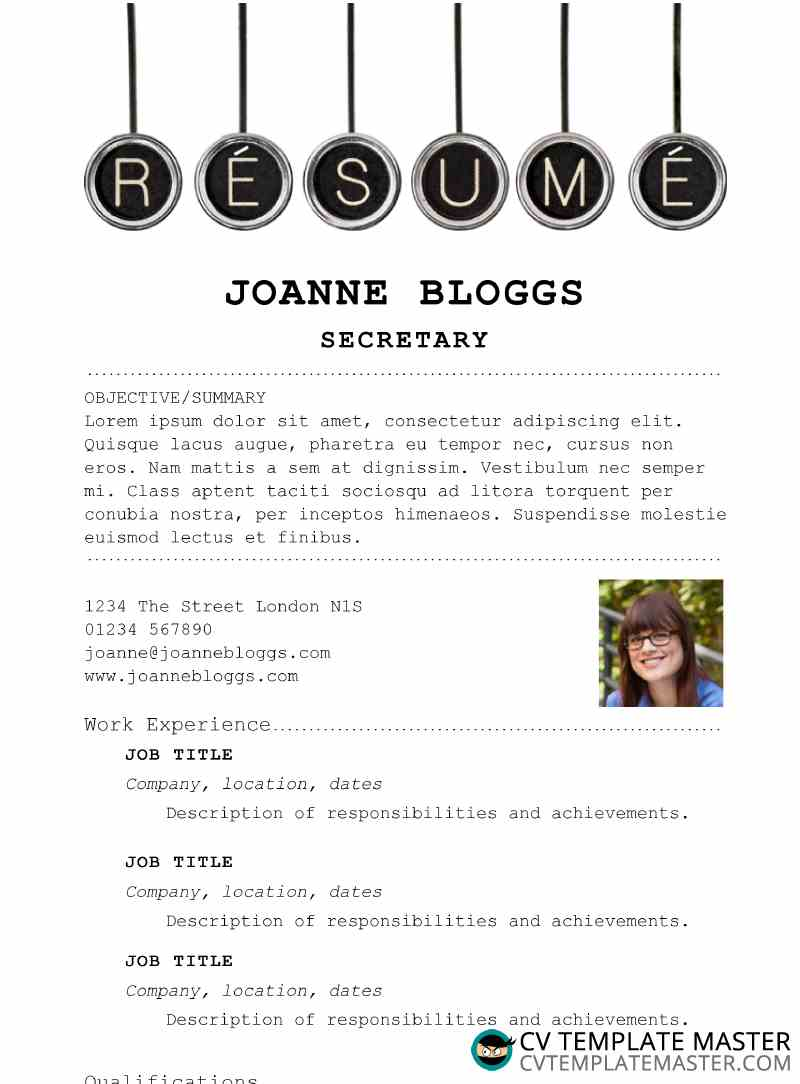 Secretary Themed Resume Template