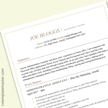 Administration CV example: free MS Word template