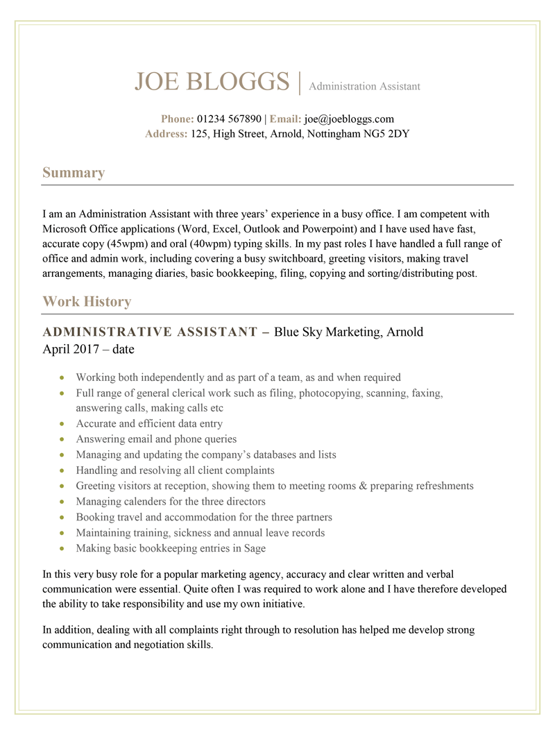 Administration CV example - page one