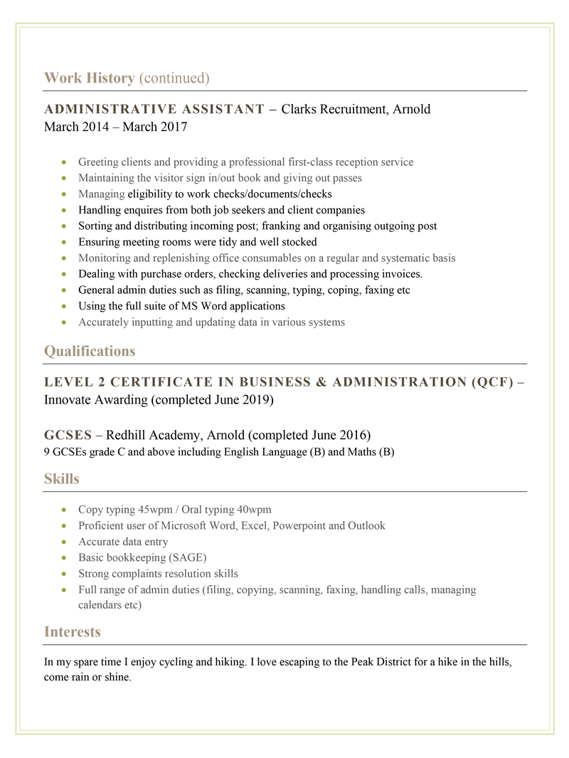 Administration CV example - page two
