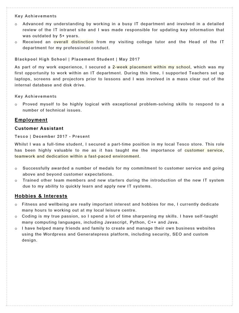 Apprenticeship CV example - page two