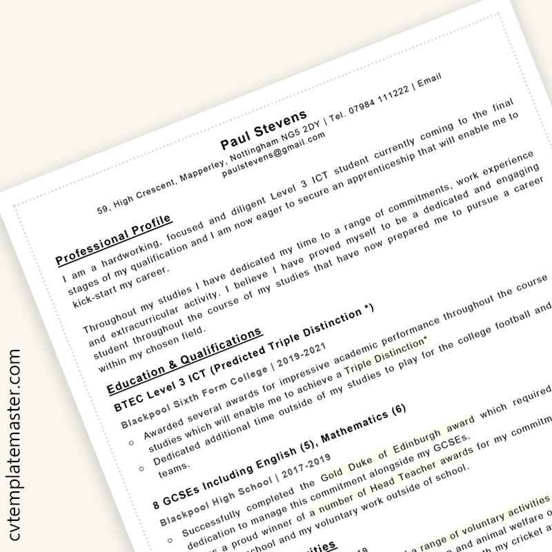 Apprenticeship CV example (template with sample content in Microsoft Word)