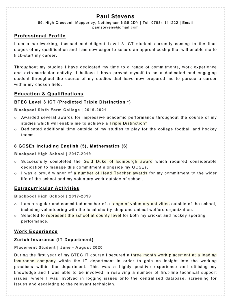 Apprenticeship CV template - page one