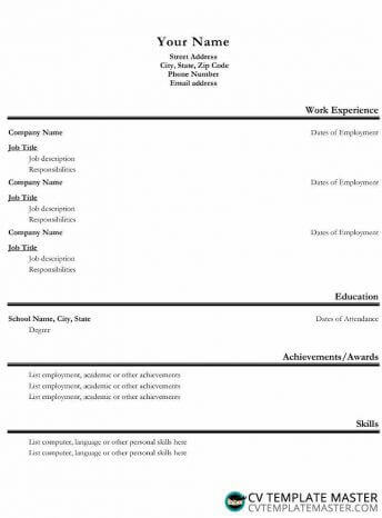 Alternative basic CV template