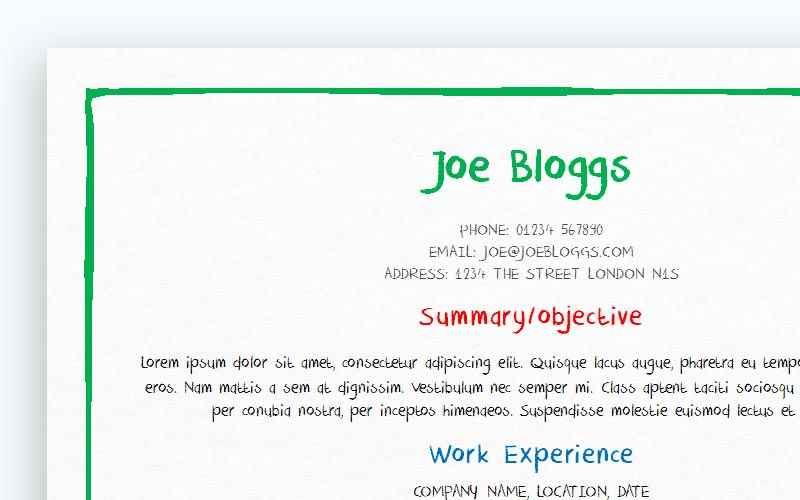 Bright crayon CV template